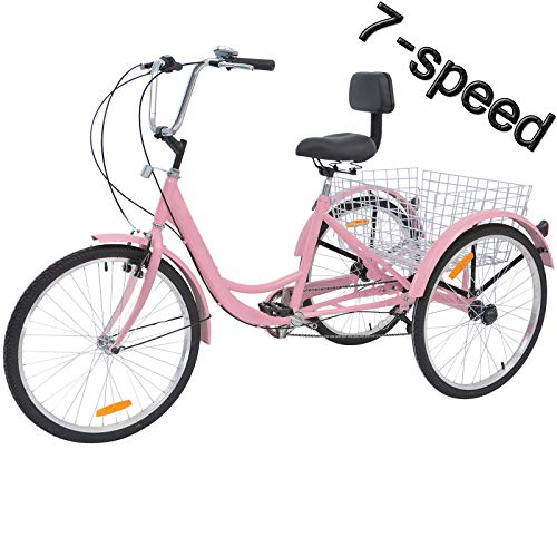 VANELL 7/1 Speed Tricycle Adult 20/24/26 in Trike Cruise Bike 3 Wheeled Bicycle W/Large Size Basket for Women...