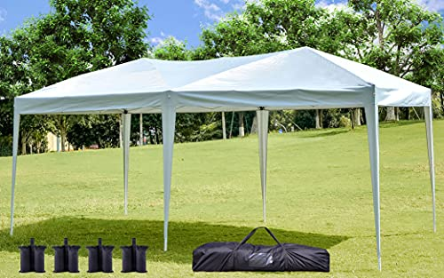 NSdirect 10 x 20 ft Pop Up Outdoor Canopy Tent, Portable Party Tent with Carrying Case/Bag Adjustable Folding...