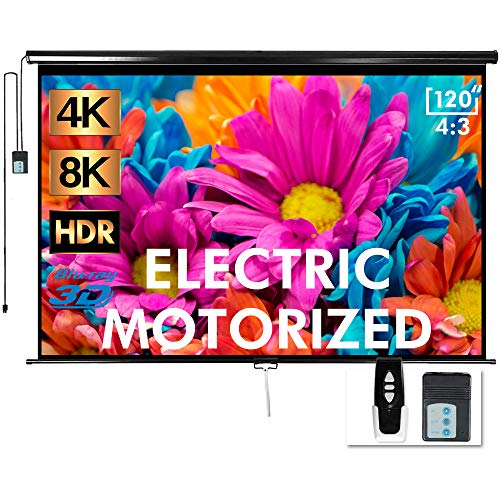 Aoxun 120' Motorized Projector Screen - Indoor and Outdoor Movies Screen 120 inch Electric 4:3 Projector...