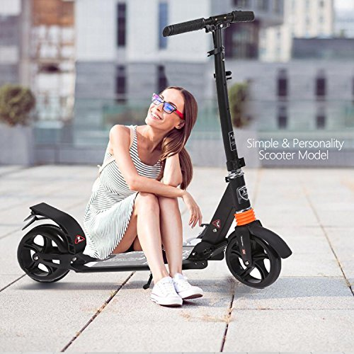 kids/Adult Scooter with 3 Seconds Easy-Folding System, 220lb Folding Adjustable Scooter with Disc Brake and...