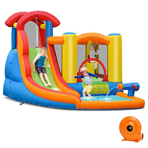 BOUNTECH Inflatable Bounce House, 6 in 1 Water Slide Jumping Park w/Splashing Pool, Climbing Wall, Water...