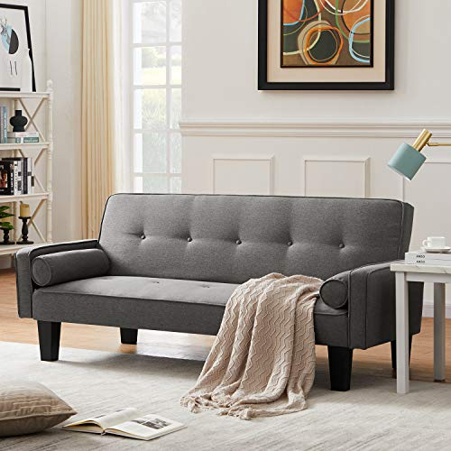DKLGG Modern Futon Bed Convertible Love Seat Couch Folding Linen Fabric Sleeper Sofas with 2 Pillows Furniture...