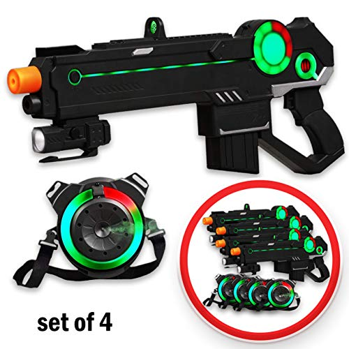 Ranger 1 Laser Tag Reality Gaming Kit with 4 Guns, 4 Vests, 225ft Shooting Range, Unique LED Heads-Up Display,...