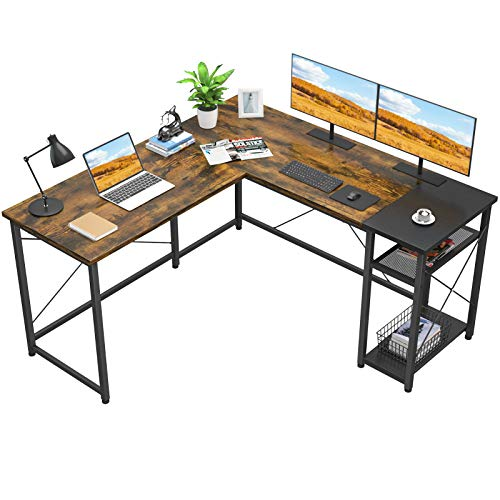 Foxemart L-Shaped Computer Desk, Industrial Corner Desk Writing Study Table with Storage Shelves,...