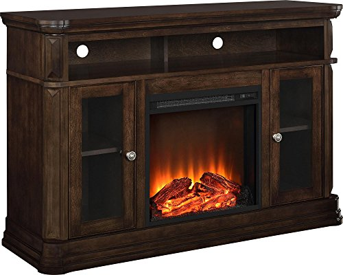 Ameriwood Home Brooklyn Electric Fireplace TV Console for TVs up to 50', Espresso