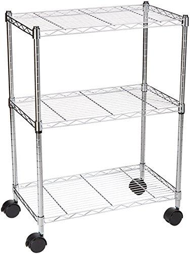 AmazonBasics 3-Shelf Shelving Storage Unit on 3' Wheel Casters, Metal Organizer Wire Rack, Chrome Silver...