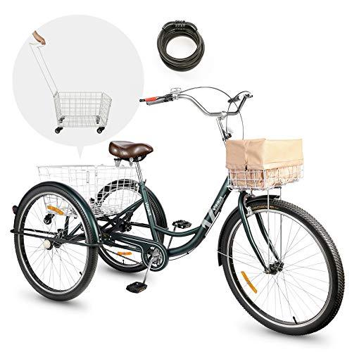 Viribus Adult Tricycle Three Wheel Trike Bike Single Speed Hybrid Cargo Cruiser with Removable Wheeled Basket...