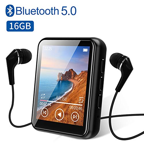 MP3 Player Bluetooth 5.0 Touch Screen Music Player 16GB Portable mp3 Player with Speakers high Fidelity...