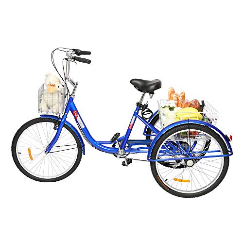 PEXMOR Adult Tricycle 7 Speed 24' Wheels Trike Cruise Bike, Three-Wheeled Bicycle with Front and Rear Basket...