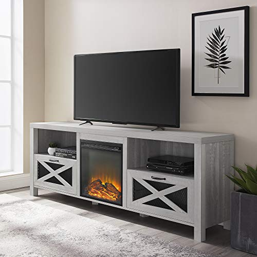 Walker Edison Calgary Industrial Farmhouse X-Drawer Metal Mesh and Wood Fireplace TV Stand for TVs up to 80...
