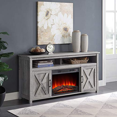 BELLEZE 58' Corin Barn Door Wood Fireplace Stand with Remote Control for TV's Up to 65' Living Room Storage -...