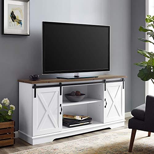 Walker Edison WE Furniture TV Stand 58' White/Rustic Oak, White/Reclaimed Barnwood