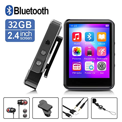 MP3Player, MP3 Player with Bluetooth, 32GB Portable Music Player with FM Radio/Recorder, HiFi Lossless Sound...
