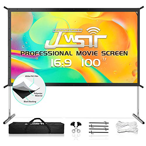 JWSIT Projector Screen with Stand, 100' 4K HD Outdoor/Indoor Portable Projector Screen 16:9 Foldable Camping...