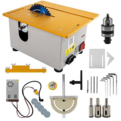 300W Mini Precision Table Saw with Miter Gauge, 885 Motor Multifunctional DIY Woodworking Cutting...
