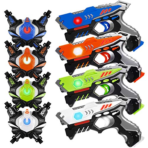 HISTOYE Infrared Laser Tag Guns Sets of 4 Players Game Laser Tag Sets with Gun and Vest Indoor Outdoor Toy Gun...