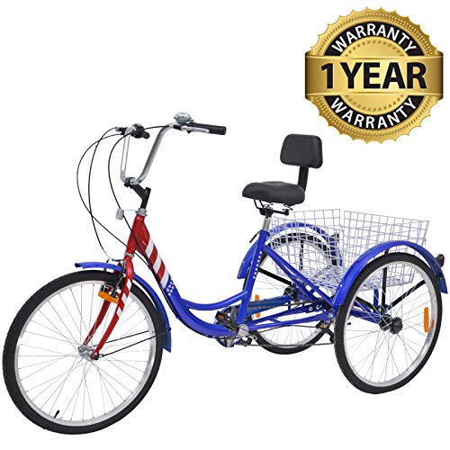 Slsy Adult Tricycles 7 Speed, Adult Trikes 24/26 inch 3 Wheel Bikes, Three-Wheeled Bicycles Cruise Trike with...