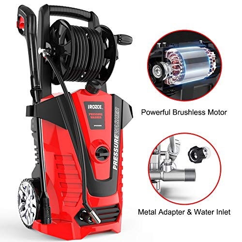 iRozce Pressure Washers, 3045PSI 2.2GPM Max Electric Power Washer with On-board Hose Reel, Metal Adapter,...