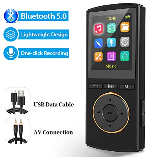 MP3 Player,MP3 Player with Bluetooth 5.0 Supports 1600 Song and 1800 Minutes of Playtime,Recording Pen...