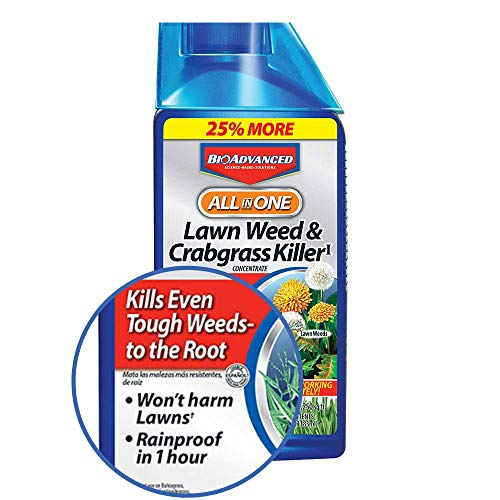 BioAdvanced 704140 All-In-One Lawn Weed and Crabgrass Killer Garden Herbicide, 32-Ounce