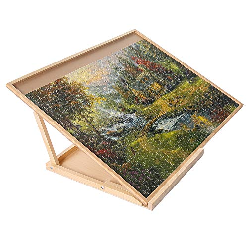 SNAIL Wooden Jigsaw Puzzle Board & Bracket Set Portable Puzzle Plateau Kit with Holder of Double Adjusting...
