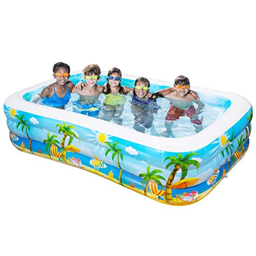 iBaseToy Giant Inflatable Swimming Pool, Adult Inflatable Pool for Summer Party, Rectangular Family Swimming...