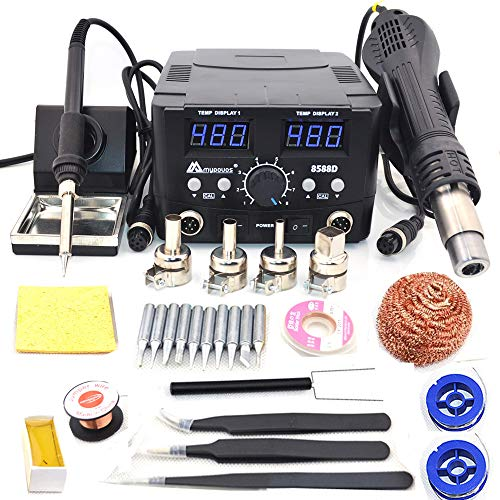 MYPOVOS 2 IN 1 750W LED Digital Soldering Station Hot Air Gun Rework Station Electric Soldering Iron For Phone...