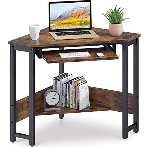 ODK Corner Desk, Triangle Computer Desk, Sturdy Steel Frame for Workstation with Smooth Keyboard Tray &...