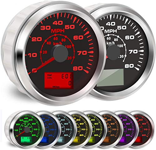 BLUERICE 7 Backlight Universal GPS Speedometer 0-120Km/h 0~80MPH 85MM GPS Speed Odometers Speed Gauges...