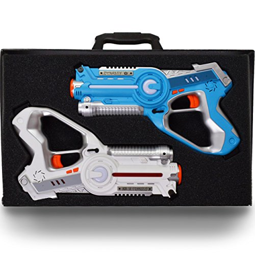 DYNASTY TOYS Family Games Laser Tag Set and Carrying Case - Blue/White Laser Tag Blasters for Birthday Parties...