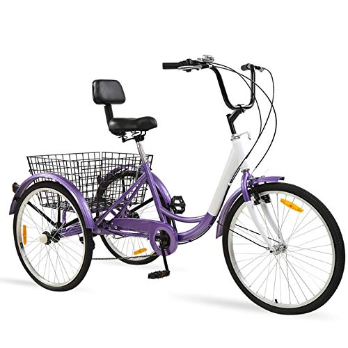 Ey Adult Tricycle, 3 Wheel Bike Adult, Three Wheel Cruiser Bike 24 26 inch Wheels, 7 Speed, Adjustable Seat...