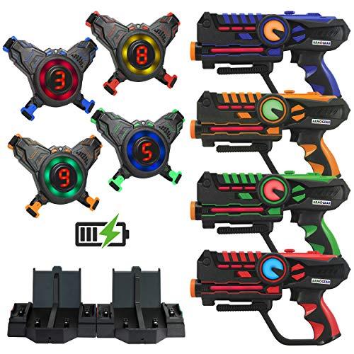 ArmoGear Rechargeable Laser Tag   Laser Tag Guns & Vests Set of 4 with Digital LED Score Display Vests  ...