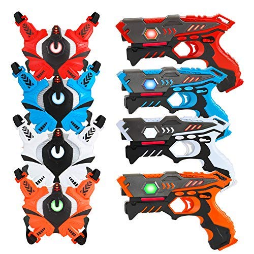 [UPGRADED] VATOS Infrared Laser Tag Gun Set for Kids Adults with Vests 4 Pack,Laser Tag Game 4 Players Indoor...
