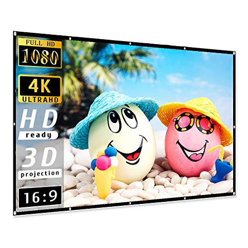 Projector Screen 100 inch, Taotique 4K Movie Projector Screen 16:9 HD Foldable and Portable Anti-Crease Indoor...