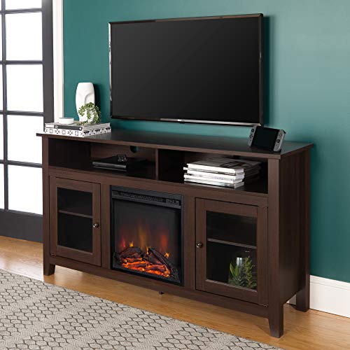 Walker Edison Furniture Company Tall Rustic Wood Fireplace Stand for TV's up to 64' Living Room Storage, 32...