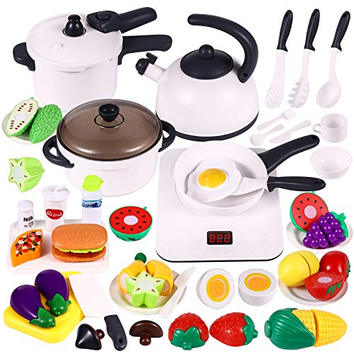 46PCS Play Kitchen Set for Kids - Kitchen Play Toy with Electric Induction Cooktop, Cookware Playset, Pots and...