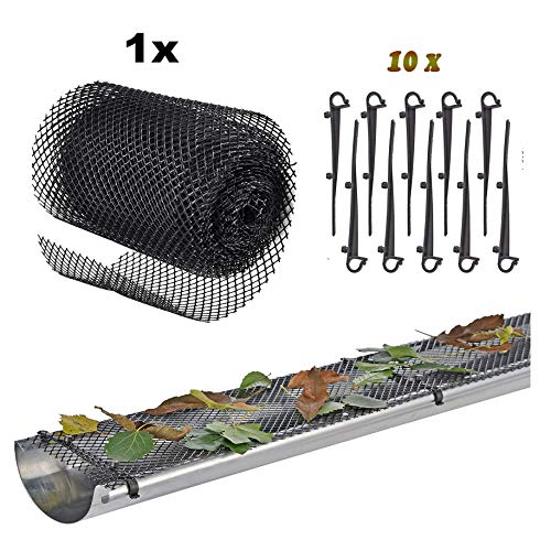Roof Gutter Guard Mesh Plastic - Mesh Gutter Guard Protector with 10 Clip Hooks Easy Install High Resist...