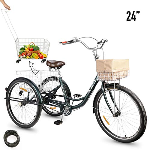 3-Wheeled Adult Tricycle with Removable Basket, 24' Wheels Trike for Men and Women, Single Speed Cruise Bike,...