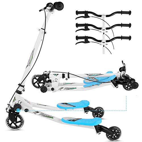 Y Flicker Scooter for Kids Ages 5-8, 3-Level Adjustable Height Fliker Swing Wiggle Scooter Foldable Kick...