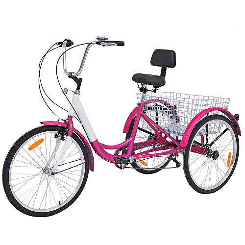 DoCred Adult Tricycles 7 Speed, Adult Trikes 24/26 inch 3 Wheel Bikes, Three-Wheeled Trike with Large Basket...