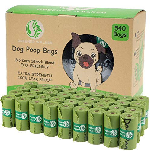 Greener Walker Poop Bags for Dog Waste-540 Bags,Extra Thick Strong 100% Leak Proof Biodegradable Dog Waste...