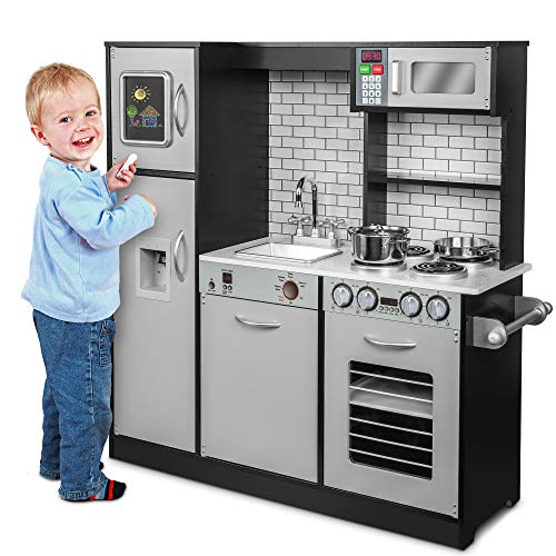 Jumbl Pretend Wooden Play Kitchen Toy Set, Realistic Design with Interactive Battery Operated Sound Elements,...