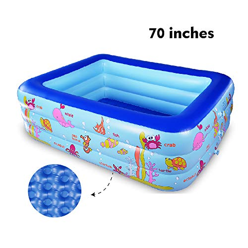 WateBom Inflatable Family Swimming Center Pool with Inflatable Soft Floor, 70 inches Ocean World Kids Swimming...