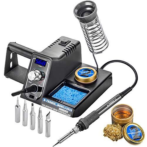 X-Tronic Model #3020 Digital LED 75 Watt Soldering Iron Station - 10 Minute Sleep Function, Auto Cool Down,...