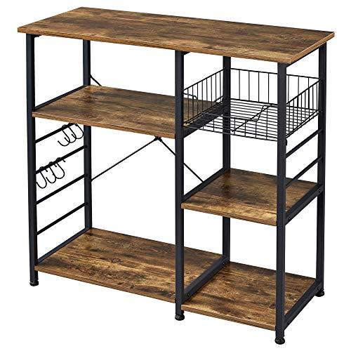 Yaheetech 35.5 in Kitchen Baker's Rack,3-Tier Microwave Cart Stand Utility Storage Shelf Workstation,Kitchen...
