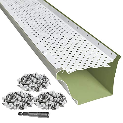 LeafTek 5' x 100' Gutter Guard Leaf Protection in White   DIY Premium Contractor Grade 35 Year Aluminum Covers...
