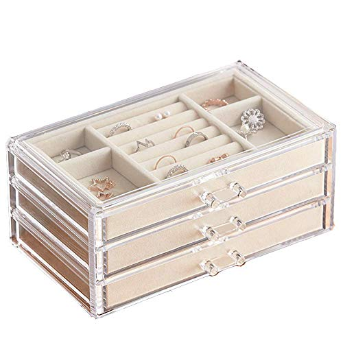 HerFav Jewelry Box for Women with 3 Drawers, Velvet Jewelry Organizer for Earring Bangle Bracelet Necklace and...