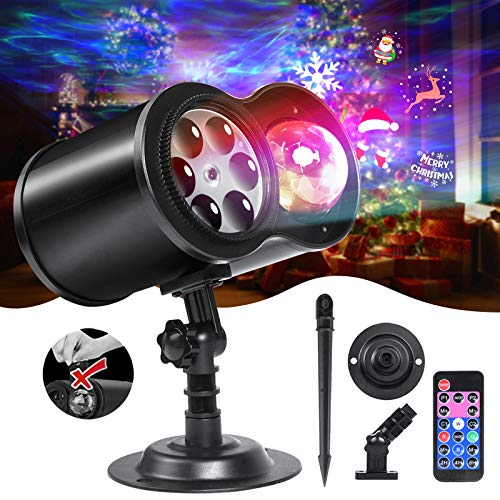 LOFTEK Christmas Projector Lights with Remote RF, Upgraded 2-in-1 Ocean Wave & Holiday Patterns LED Lights...