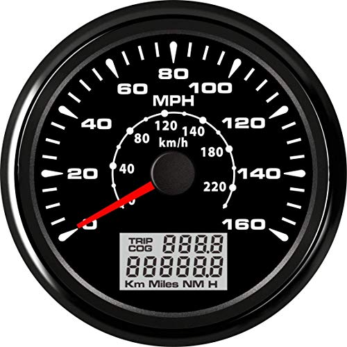 ELING Universal GPS Speedometer Gauge 160MPH 220KM/H Trip Counter Odometer for Car Racing Motorcycle 85mm...