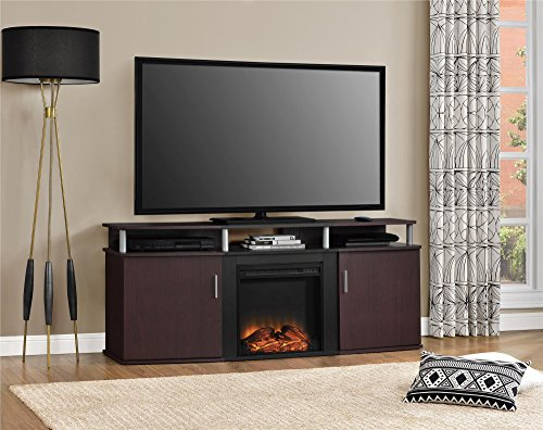 Ameriwood Home Carson Electric Fireplace TV Console for TVs up to 70', Cherry